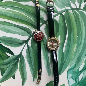 Betsy Johnson Watch With Lady Bug Bracelet Set